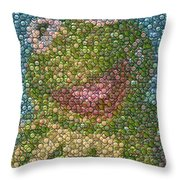 Kermit Mt. Dew Bottle Cap Mosaic Throw Pillow by Paul Van Scott