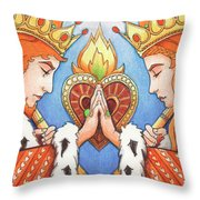 King and Queen of Hearts Throw Pillow by Amy S Turner