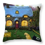 Kinkade's Worst Nightmare 2  Throw Pillow by Leah Saulnier The Painting Maniac