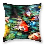 Koi Paradise Throw Pillow by Susan Kinney