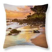 Koki Beach Sunrise Throw Pillow by Inge Johnsson