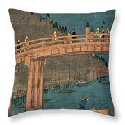 Kyoto Bridge By Moonlight Throw Pillow by Hiroshige
