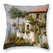 La Casa Giallo-verde Throw Pillow by Guido Borelli