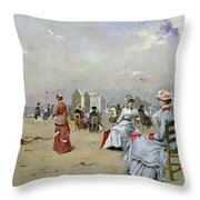 La Plage De Trouville Throw Pillow by Paul Rossert