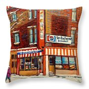 La Quebecoise Restaurant Deli Throw Pillow by Carole Spandau
