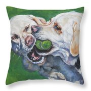 Labrador Retriever Yellow Buddies Throw Pillow by Lee Ann Shepard