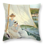 Ladies In A Sailing Boat  Throw Pillow by Jules Cayron