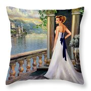 Lady On The Stairs By Lake Como. Throw Pillow by Gina Femrite