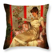 Lady Reading Throw Pillow by Joseph Frederick Charles Soulacroix