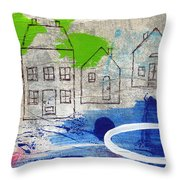 Lake Houses Throw Pillow by Linda Woods