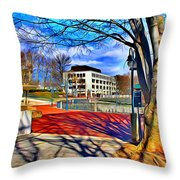 Lake Kittamaqundi Walkway Throw Pillow by Stephen Younts