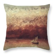 Lake Leman with Setting Sun Throw Pillow by Gustave Courbet