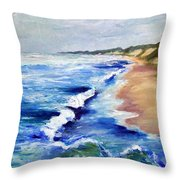 Lake Michigan Beach with Whitecaps Throw Pillow by Michelle Calkins