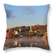 Lake Winnipesaukee Meredith Autumn Morning Throw Pillow by John Burk