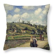 Landscape Near Pontoise Throw Pillow by Camille Pissarro