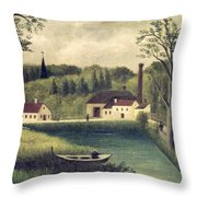 Landscape with a Fisherman Throw Pillow by Henri Rousseau