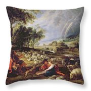Landscape With A Rainbow Throw Pillow by Rubens
