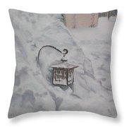 Lantern In The Snow Throw Pillow by Lea Novak