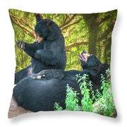Laughing Bears Throw Pillow by John Haldane