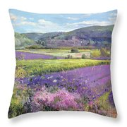 Lavender Fields In Old Provence Throw Pillow by Timothy Easton