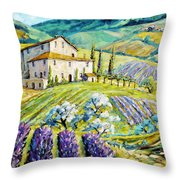 Lavender Hills Tuscany By Prankearts Fine Arts Throw Pillow by Richard T Pranke
