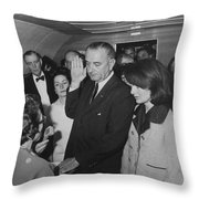 Lbj Taking The Oath On Air Force One Throw Pillow by War Is Hell Store