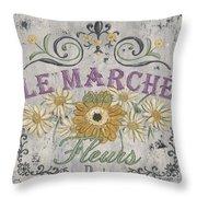 Le Marche Aux Fleurs 1 Throw Pillow by Debbie DeWitt