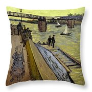 Le Pont De Trinquetaille In Arles Throw Pillow by Vincent Van Gogh