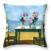 Le Rose E Il Balcone Throw Pillow by Guido Borelli