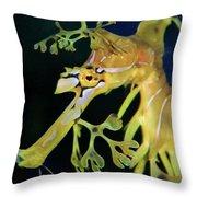 Leafy Sea Dragon Throw Pillow by Mariola Bitner