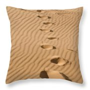 Leave Only Footprints Throw Pillow by Heather Applegate