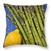 Lemon And Asparagus  Throw Pillow by Garry Gay