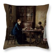 Lessons Throw Pillow by Helen Allingham