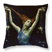 Libra From Zodiac Series Throw Pillow by Dorina  Costras