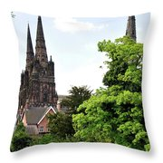 Lichfield Cathedral From Minster Pool Throw Pillow by Rod Johnson