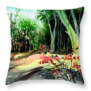 Light In The Woods Throw Pillow by Anil Nene