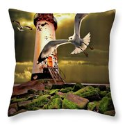 Lighthouse With Seagulls Throw Pillow by Meirion Matthias