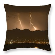 Lightning Bolt Strikes Out Of A Typical Throw Pillow by Mike Theiss