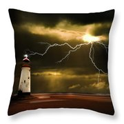 lightning storm Throw Pillow by Meirion Matthias