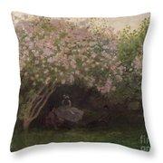 Lilacs Throw Pillow by Claude Monet