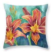 Lilies Throw Pillow by Eleonora Perlic