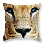 Lion Art - Blue Eyed King Throw Pillow by Sharon Cummings