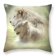 Lion Moon Throw Pillow by Carol Cavalaris