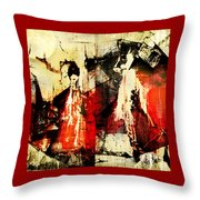 Little Red Riding Hood And The Big Bad Wolf Under A Yellow Moon Throw Pillow by Jeff Burgess