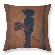 Little Rider Throw Pillow by Leslie Allen