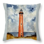 Little Sable Point Lighthouse Throw Pillow by Michael Vigliotti