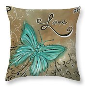 Live And Love Butterfly By Madart Throw Pillow by Megan Duncanson
