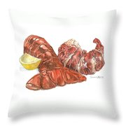 Lobster Tail And Meat Throw Pillow by Dominic White