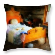Log Cabin Bedroom Throw Pillow by Perry Webster