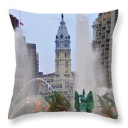 Logan Circle Fountain With City Hall In Backround 4 Throw Pillow by Bill Cannon